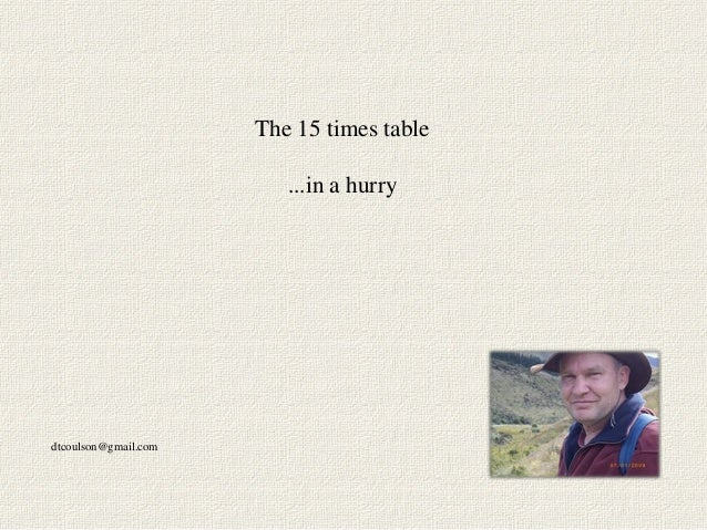 The 15 times table                         ...in a hurrydtcoulson@gmail.com