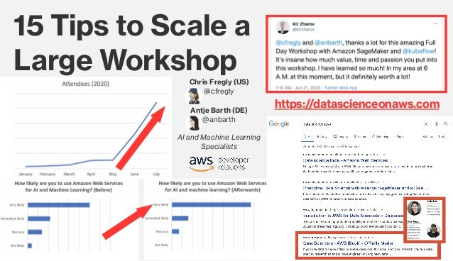 15 Tips to Scale a  Large Workshop Chris Fregly (US) @cfregly Antje Barth (DE) @anbarth AI and Machine Learning Specialist...