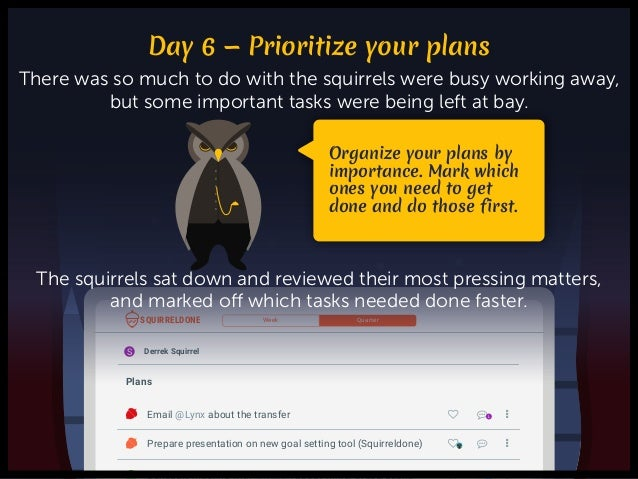 ♥ ɔ … + Add a weekly plan · Schedule meeting with @Rabbit about winter preparations R Prepare presentation on new goal set...