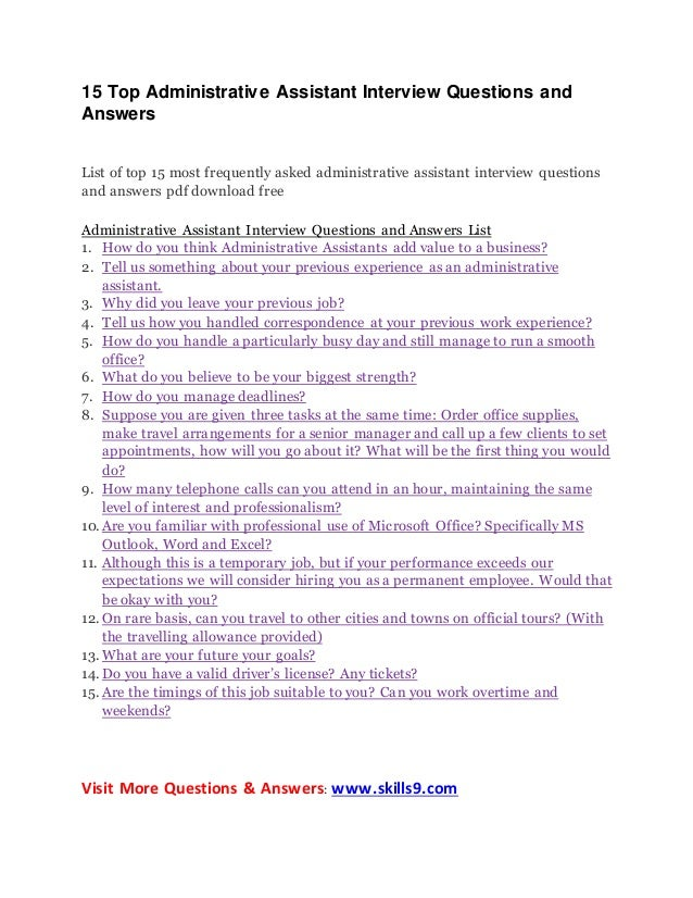 15 Top Administrative Assistant Interview Questions And Answers List Of Top  15 Most Frequently Asked Administrative ... Ideas Administrative Assistant Interview Questions