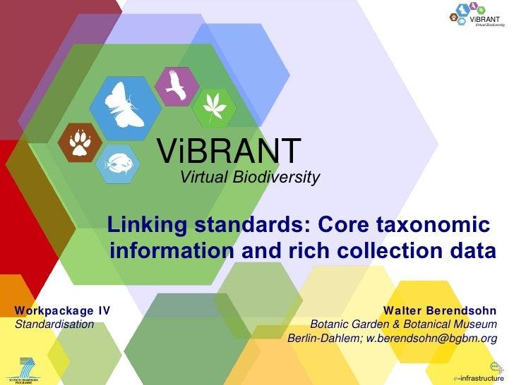 Linking standards: Core taxonomic  information and rich collection data Walter Berendsohn Botanic Garden & Botanical Museu...