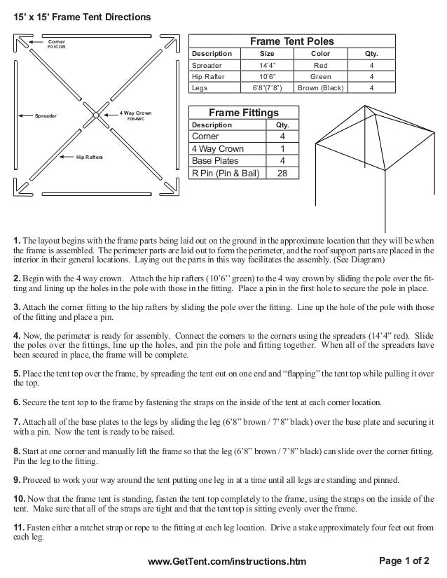 15 X 15 Frame Tent Installation Instructions