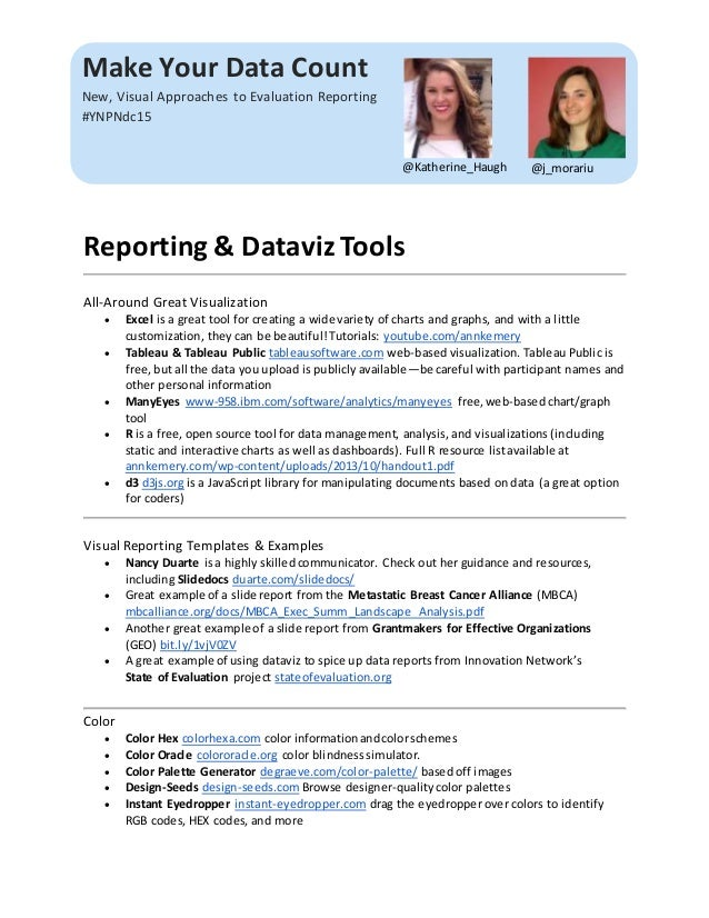 Make Your Data Count New, Visual Approaches to Evaluation Reporting #YNPNdc15 @j_morariu@Katherine_Haugh Reporting & Datav...