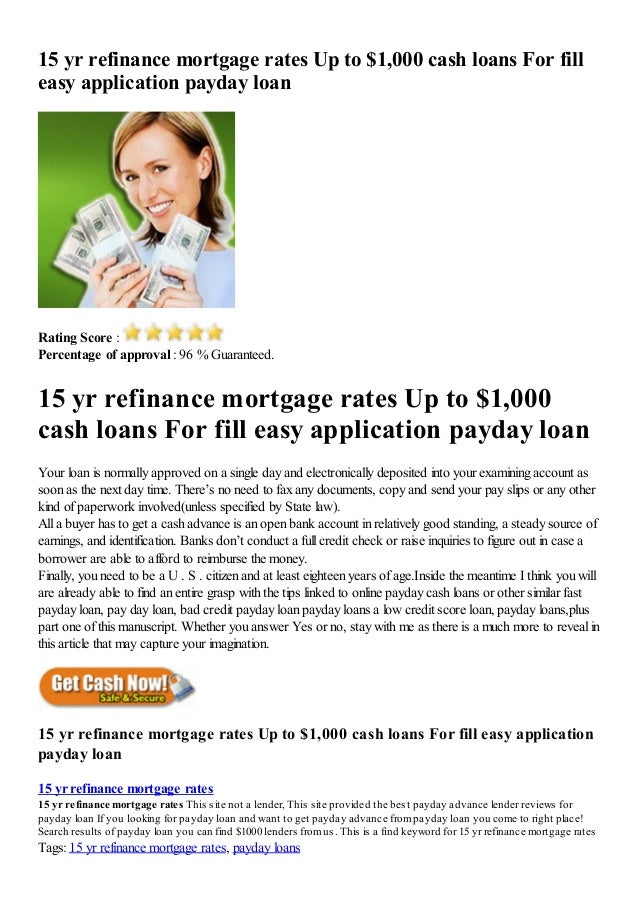 » 15 yr refinance mortgage rates up to $1,000 cash loans ...