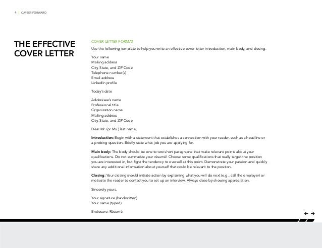 CAREER FORWARD - THE EFFECTIVE COVER LETTER