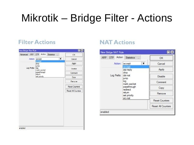 Mikrotik – Bridge Filter - Actions
