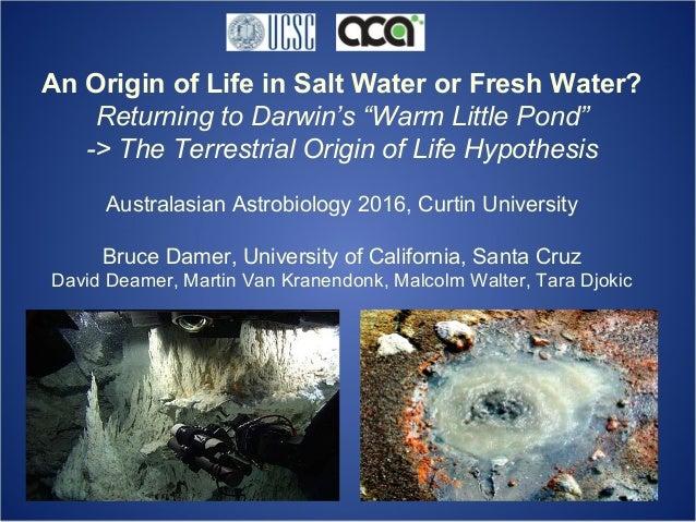 "An Origin of Life in Salt Water or Fresh Water? Returning to Darwin's ""Warm Little Pond"" -> The Terrestrial Origin of Life..."