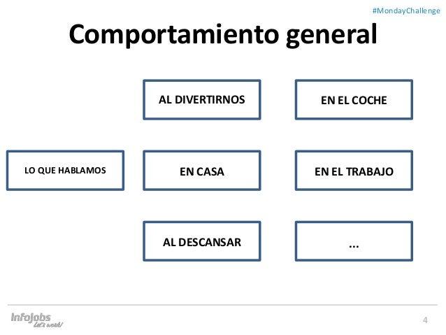 4 ##MondayChallenge Comportamiento general LO QUE HABLAMOS AL DIVERTIRNOS EN EL COCHE AL DESCANSAR EN EL TRABAJOEN CASA ...