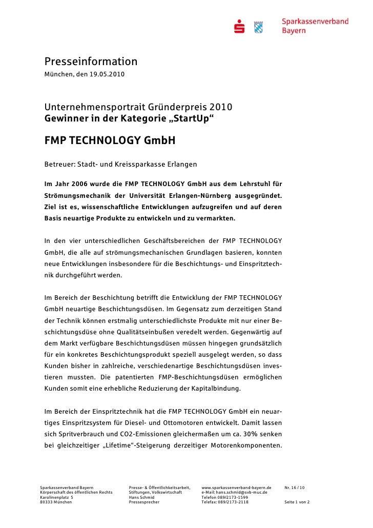 """Presseinformation  München, den 19.05.2010  Unternehmensportrait Gründerpreis 2010  Gewinner in der Kategorie """"StartUp""""  F..."""