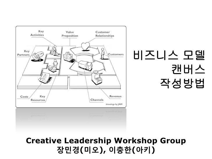 비즈니스 모델                         캔버스                        작성방법Creative Leadership Workshop Group       장민경(미오), 이충한(아키)
