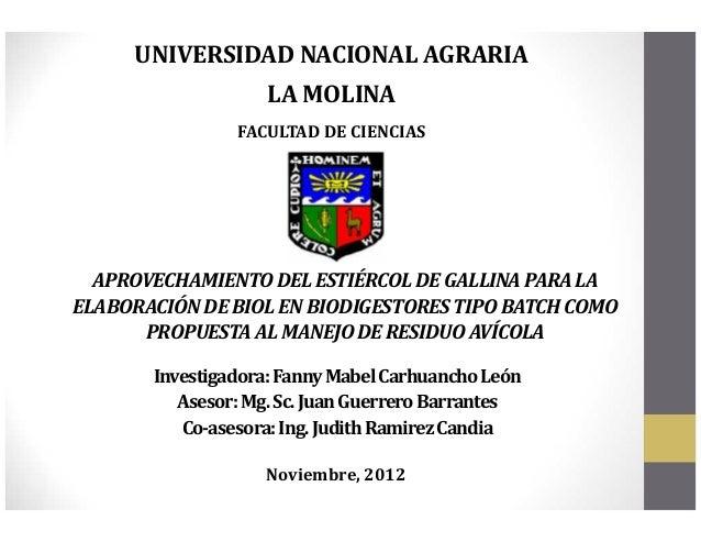 UNIVERSIDAD NACIONAL AGRARIA                   LA MOLINA                FACULTAD DE CIENCIAS  APROVECHAMIENTO DEL ESTIÉRCO...