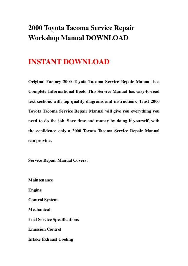 2000 toyota tacoma service repair workshop manual download rh slideshare net 2000 4runner repair manual keithley 2000 repair manual