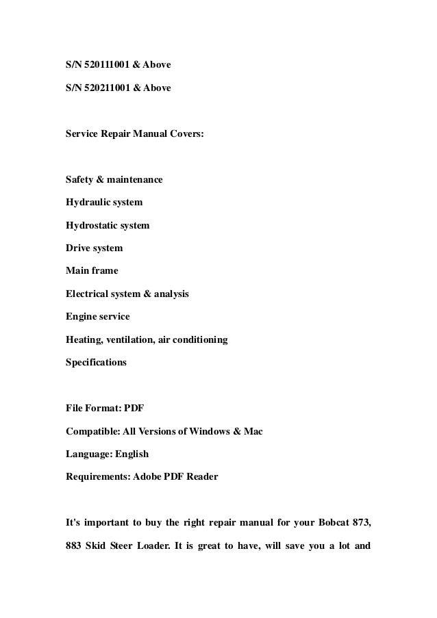 bobcat 873 883 skid steer loader service repair workshop manual download sn 514140001 above sn 514240001 above sn 517911001 above sn 520111001 above sn 520211001 above 2 638?cb\=1357811960 bobcat 873 wiring harness diagram gandul 45 77 79 119  at fashall.co