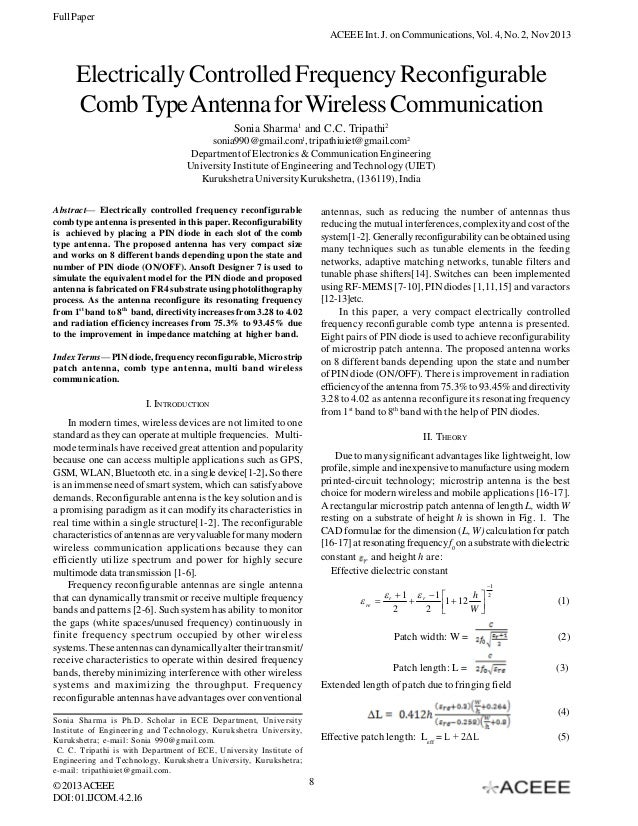Full Paper ACEEE Int. J. on Communications, Vol. 4, No. 2, Nov 2013  Electrically Controlled Frequency Reconfigurable Comb...