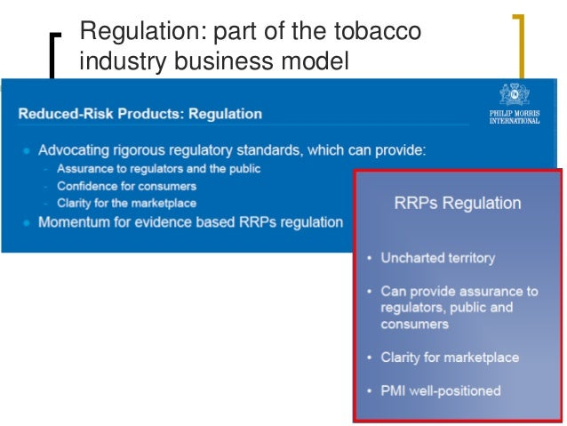 Tobacco industry involvement  New situation: tobacco industry sells reduced risk vaporizers  Science  Huge investments i...