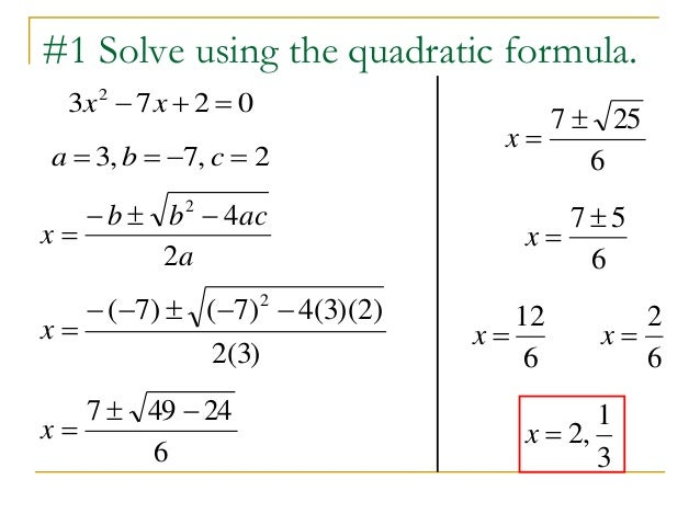 16 6 quadratic formula discriminant