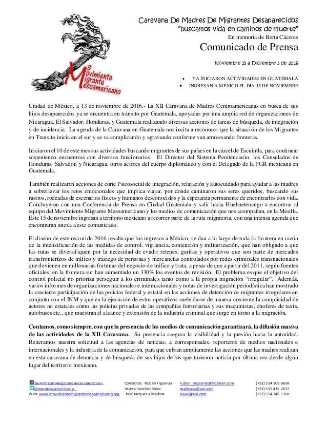 """Caravana De Madres De Migrantes Desaparecidos """"buscamos vida en caminos de muerte"""" En memoria de Berta Cáceres Comunicado ..."""