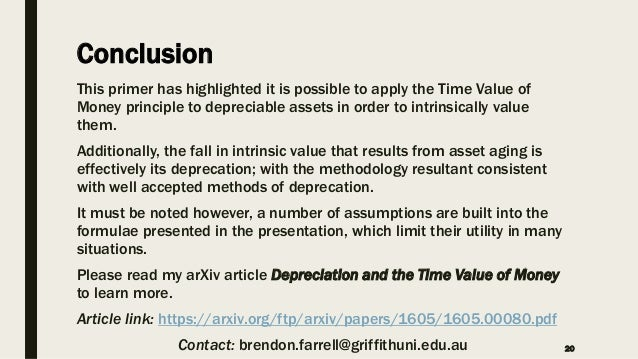 depreciation and the time value of money  a primer of the
