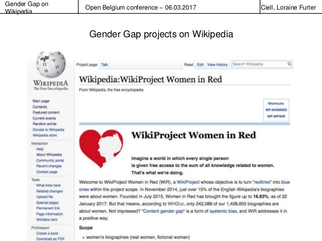 Gender Gap on Wikipedia Open Belgium conference – 06.03.2017 Ciell, Loraine Furter Gender Gap projects on Wikipedia