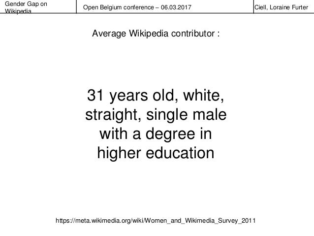 Gender Gap on Wikipedia Open Belgium conference – 06.03.2017 Ciell, Loraine Furter 31 years old, white, straight, single m...
