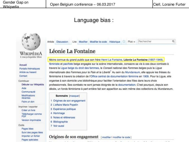 Gender Gap on Wikipedia Open Belgium conference – 06.03.2017 Ciell, Loraine Furter Language bias :
