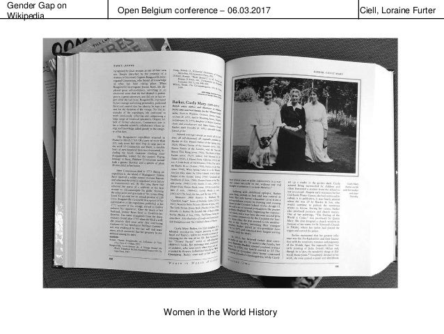 Gender Gap on Wikipedia Open Belgium conference – 06.03.2017 Ciell, Loraine Furter Women in the World History