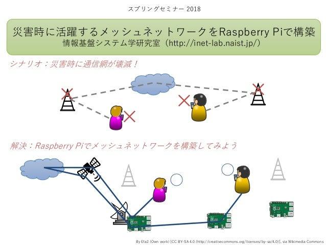 災害時に活躍するメッシュネットワークをRaspberry Piで構築 情報基盤システム学研究室(http://inet-lab.naist.jp/) スプリングセミナー 2018 シナリオ:災害時に通信網が壊滅! 解決:Raspberry Pi...