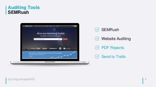@craigcampbell03 Auditing Tools SEMRush 4 SEMRush Website Auditing PDF Reports Send to Trello