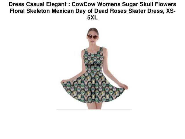 Dress Casual Elegant : CowCow Womens Sugar Skull Flowers Floral Skele…