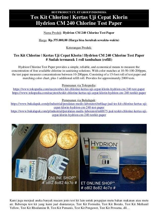 HOT PRODUCT CV. ET GROUP INDONESIA Tes Kit Chlorine | Kertas Uji Cepat Klorin Hydrion CM 240 Chlorine Test Paper Nama Prod...
