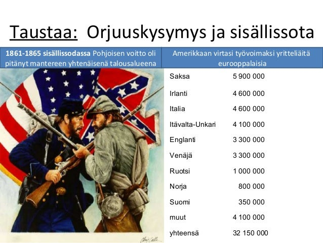 Taustaa: Orjuuskysymys ja sisällissota 1861-1865 sisällissodassa Pohjoisen voitto oli pitänyt mantereen yhtenäisenä talous...