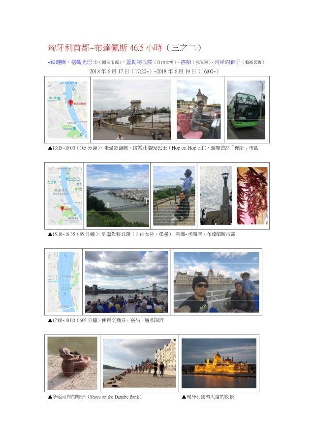 匈牙利首都~布達佩斯 46.5 小時(三之二) ~鎖鏈橋、搭觀光巴士(佩斯市區)、蓋勒特丘陵(自由女神)、搭船(多瑙河)、河岸的鞋子(藝術裝置) 2018 年 6 月 17 日(17:20~)~2018 年 6 月 19 日(16:00~) ▲...