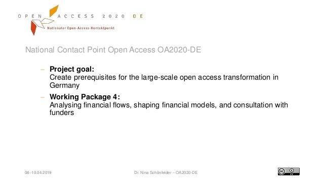 08–10.04.2019 Dr. Nina Schönfelder – OA2020-DE National Contact Point Open Access OA2020-DE  Project goal: Create prerequ...