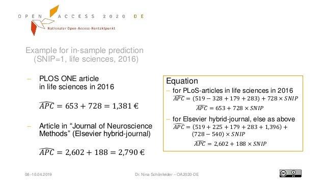 08–10.04.2019 Dr. Nina Schönfelder – OA2020-DE Example for in-sample prediction (SNIP=1, life sciences, 2016)  PLOS ONE a...