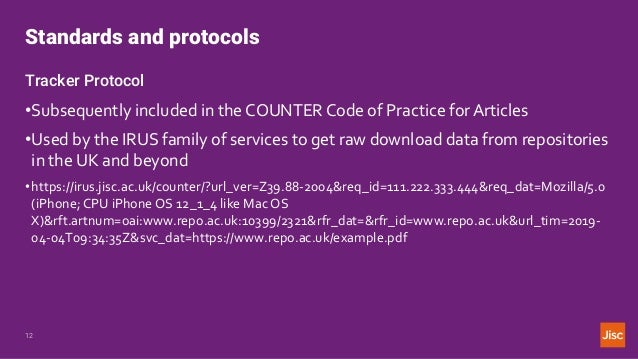 Standards and protocols 12 Tracker Protocol •Subsequently included in the COUNTER Code of Practice for Articles •Used by t...