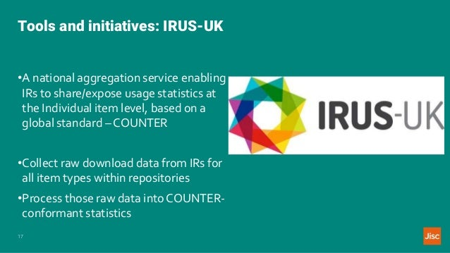 Tools and initiatives: IRUS-UK 17 •A national aggregation service enabling IRs to share/expose usage statistics at the Ind...