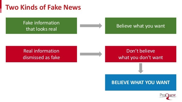 Two Kinds of Fake News Fake information that looks real Real information dismissed as fake Believe what you want Don't bel...