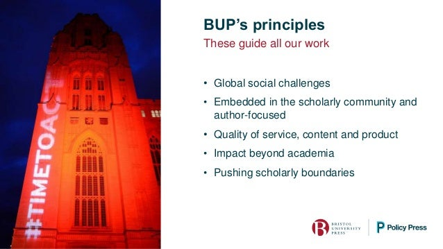 BUP's principles • Global social challenges • Embedded in the scholarly community and author-focused • Quality of service,...