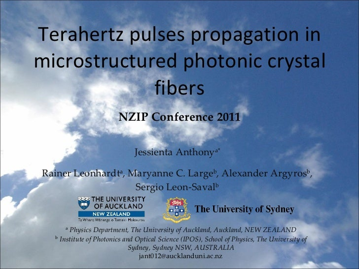 Terahertz pulses propagation in microstructured photonic crystal fibers Jessienta Anthony a* Rainer Leonhardt a , Maryanne...