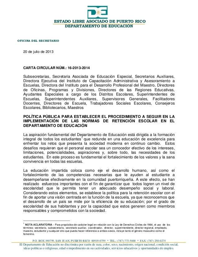 P.O. BOX 190759, SAN JUAN, PUERTO RICO 00919-0759 * TEL.: (787) 773-5800 * FAX: (787) 250-0275 El Departamento de Educació...