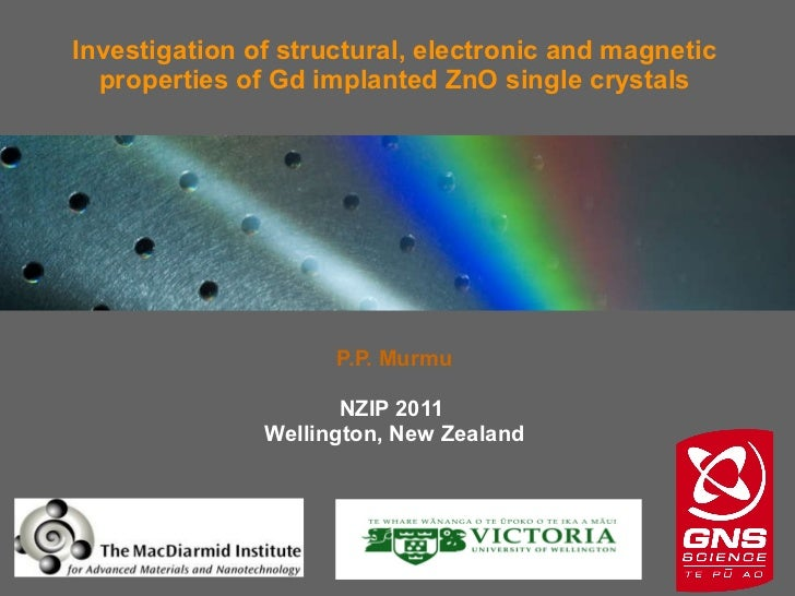 P.P. Murmu NZIP 2011  Wellington, New Zealand Investigation of structural, electronic and magnetic properties of Gd implan...
