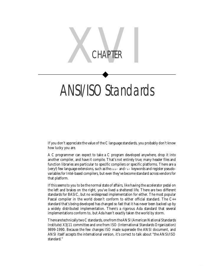 Chapter XVI        • ANSI/ISO Standards         283                  XVI               CHAPTER           ANSI/ISO Standard...