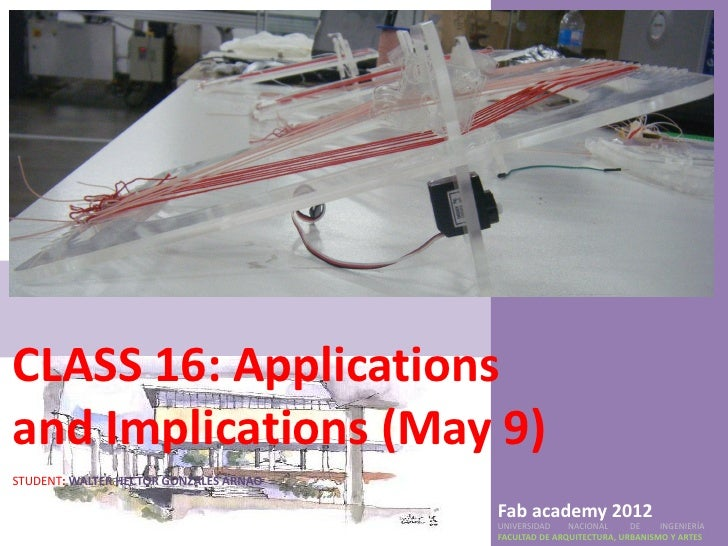 CLASS 16: Applicationsand Implications (May 9)STUDENT: WALTER HECTOR GONZALES ARNAO                                       ...