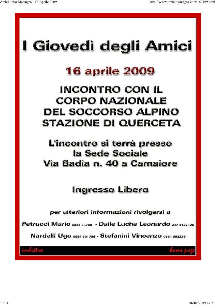 Amici della Montagna - 16 Aprile 2009   http://www.amicimontagna.com/160409.html     1 di 1                               ...