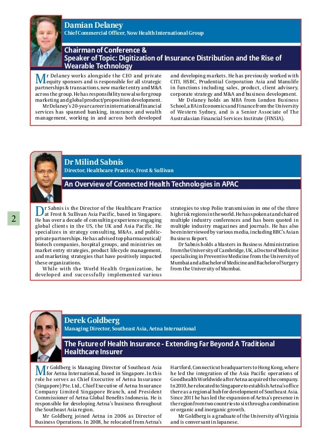 2 Chairman of Conference & Speaker of Topic: Digitization of Insurance Distribution and the Rise of Wearable Technology An...