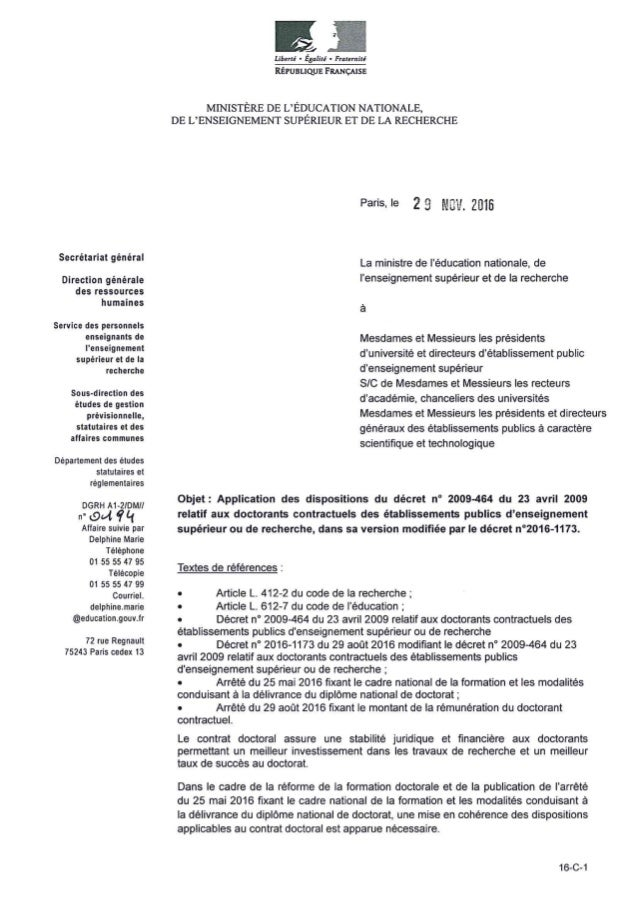 Circulaire d'application 16 c-1 décret n°2016-1773 (doctorants contractuels)