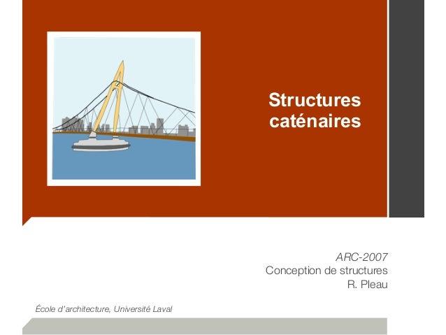 Structures caténaires ARC-2007 Conception de structures R. Pleau École d'architecture, Université Laval