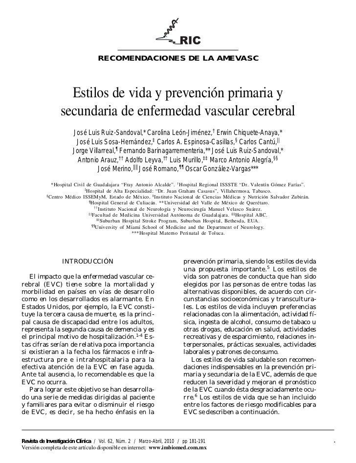 RECOMENDACIONES DE LA AMEVASC                    Estilos de vida y prevención primaria y                  secundaria de en...