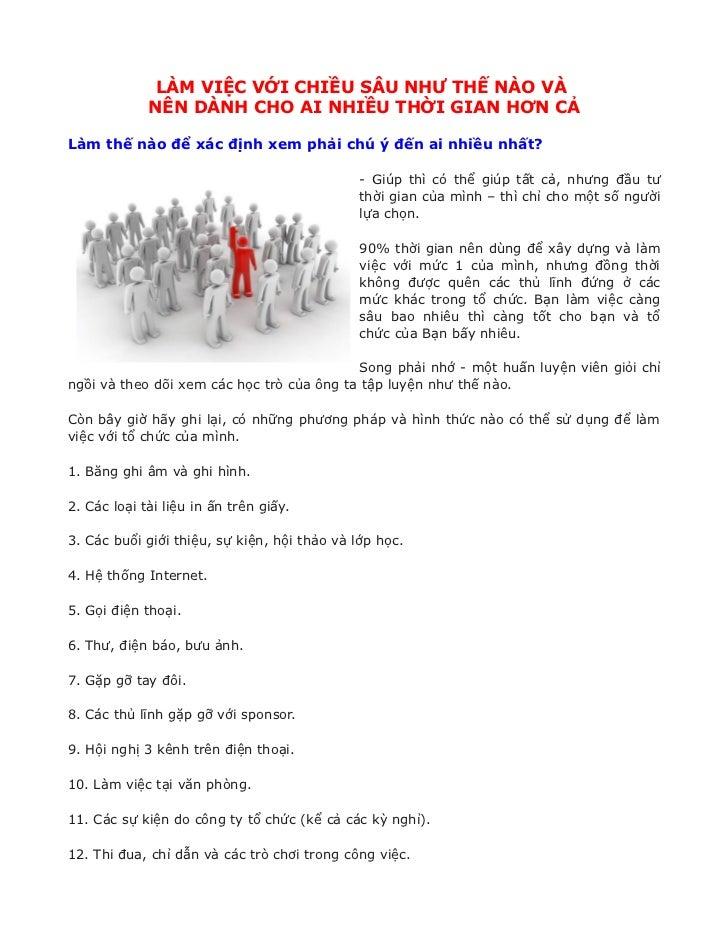 LÀM VIỆC VỚI CHIỀU SÂU NHƯ THẾ NÀO VÀ             NÊN DÀNH CHO AI NHIỀU THỜI GIAN HƠN CẢLàm thế nào để xác định xem phải c...