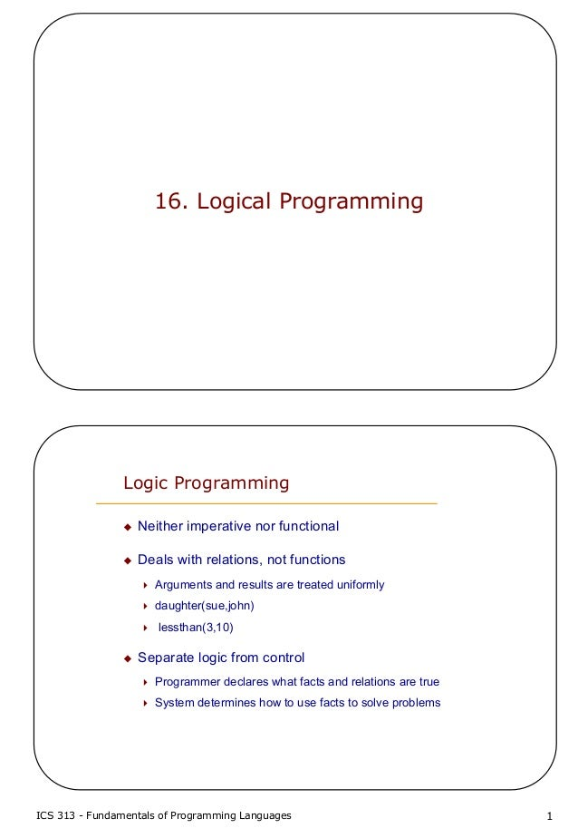 ICS 313 - Fundamentals of Programming Languages 116. Logical ProgrammingLogic ProgrammingNeither imperative nor functional...